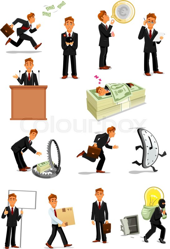 Businessman Cartoon Character Set Manager With Money Euro Currency