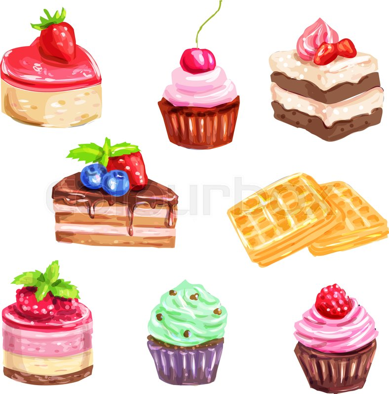 cake and pastry dessert set of watercolor chocolate cake dessert clipart images dessert clipart images