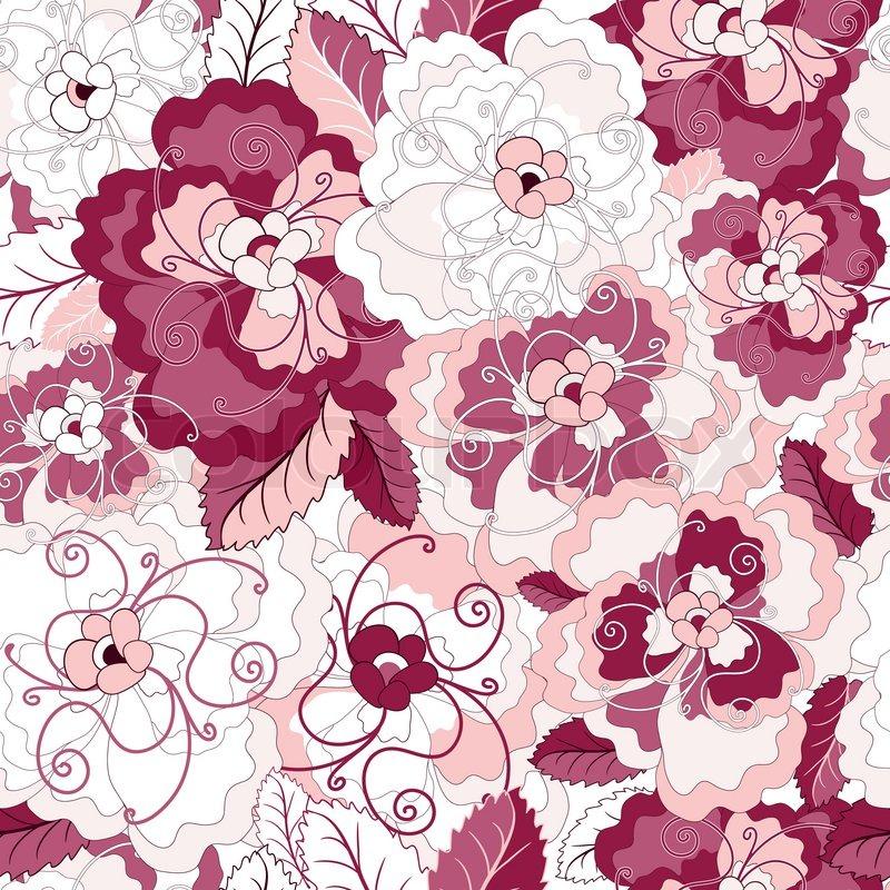 nahtlose blumenmuster mit sanften rosa und lila blumen vektor vektorgrafik colourbox. Black Bedroom Furniture Sets. Home Design Ideas