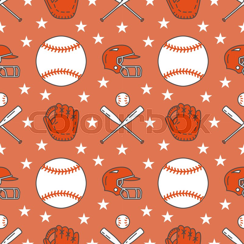 Baseball, softball sport game vector seamless pattern, background with line icons of balls, player, gloves, bat, helmet. Flat signs for championship, equipment store, vector