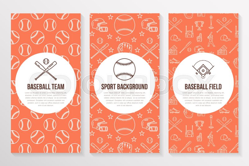 Baseball, softball sport game brochure template, flyer. Vector trifold orange background. Equipment thin line icons - bats, balls, field. Illustration for team poster, vector