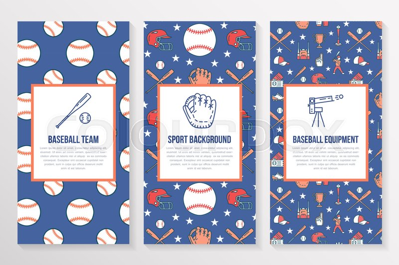 Baseball, softball sport game brochure template, flyer. Vector trifold colored blue background. Equipment thin line icons - bats, balls, field. Illustration for team poster, vector