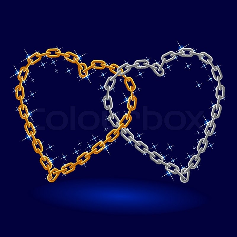 Chain Silver And Gold Heart Illustration On White
