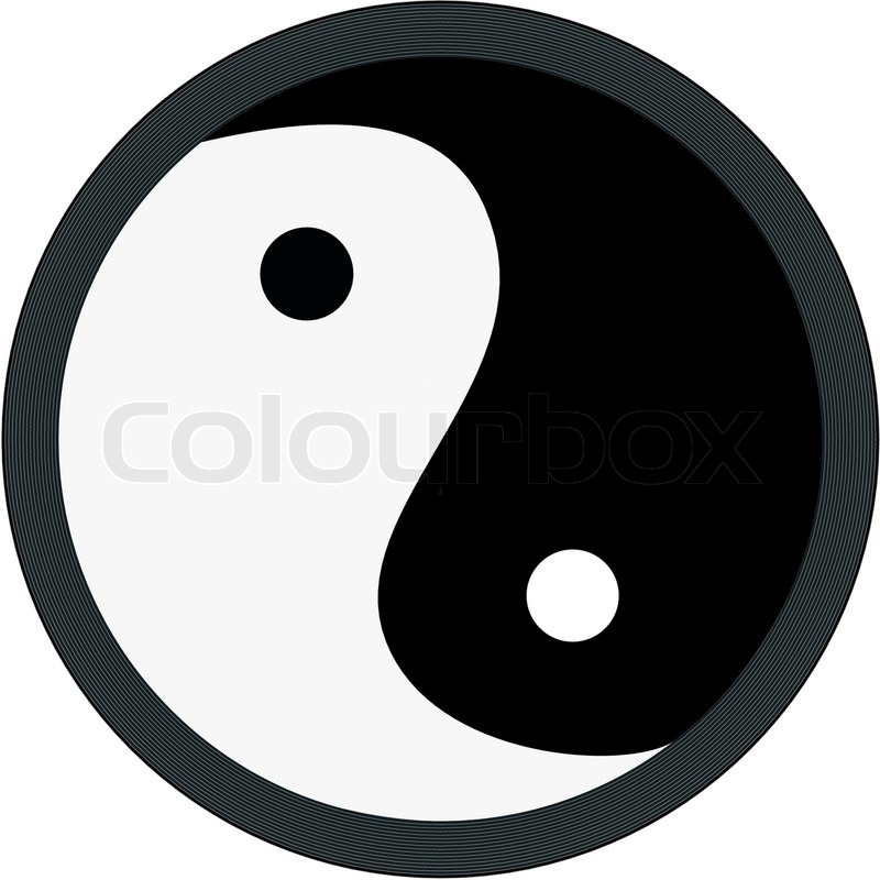 Vector Illustration Yang Yin Symbol Isolated On White Stock