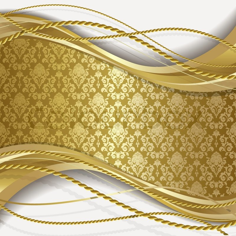 White Background With Gold Flowers And Leaves Stock