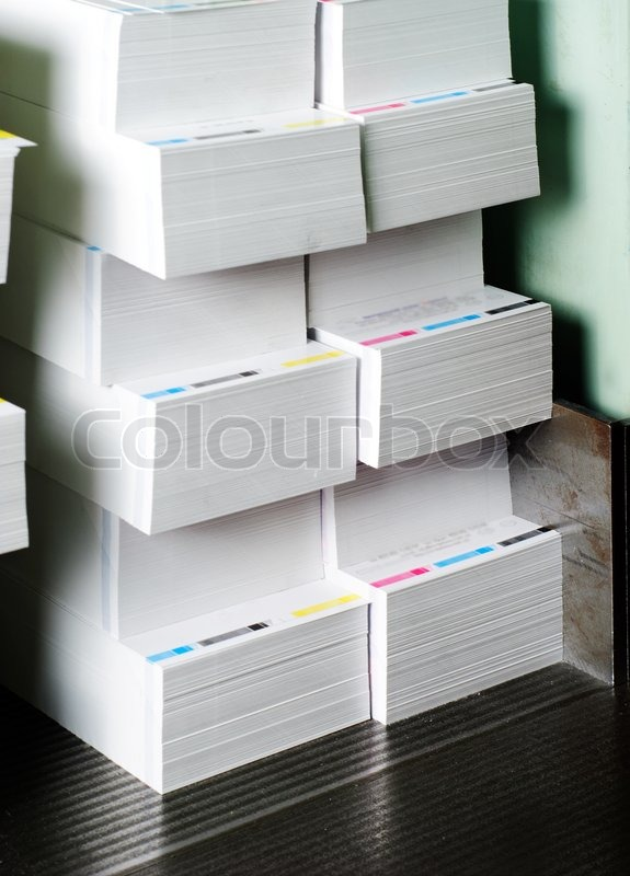 Paper stack prepared for side trimming, printing industry ...