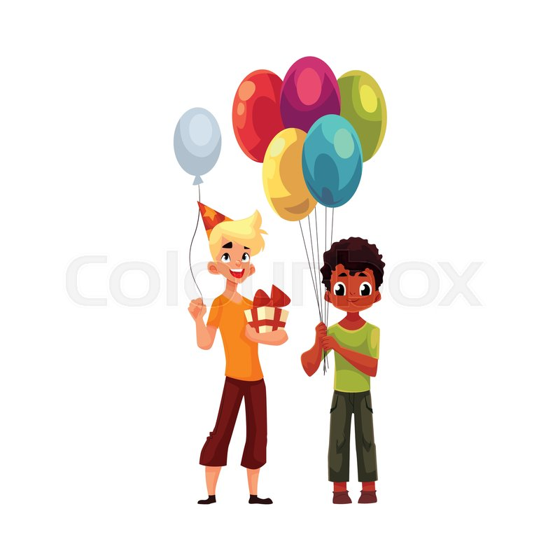 Stock Vector Of Black Little Boy With Balloons Caucasian Teenager Holding Birthday Gift