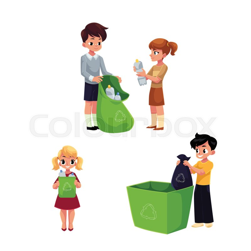 children  kids collect garbage for recycling  segregating jobs clip art white and black jobs clip art