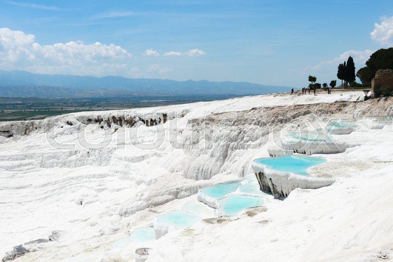 Blue natural mineral travertine Pamukkale. Denizli Turkey, stock photo