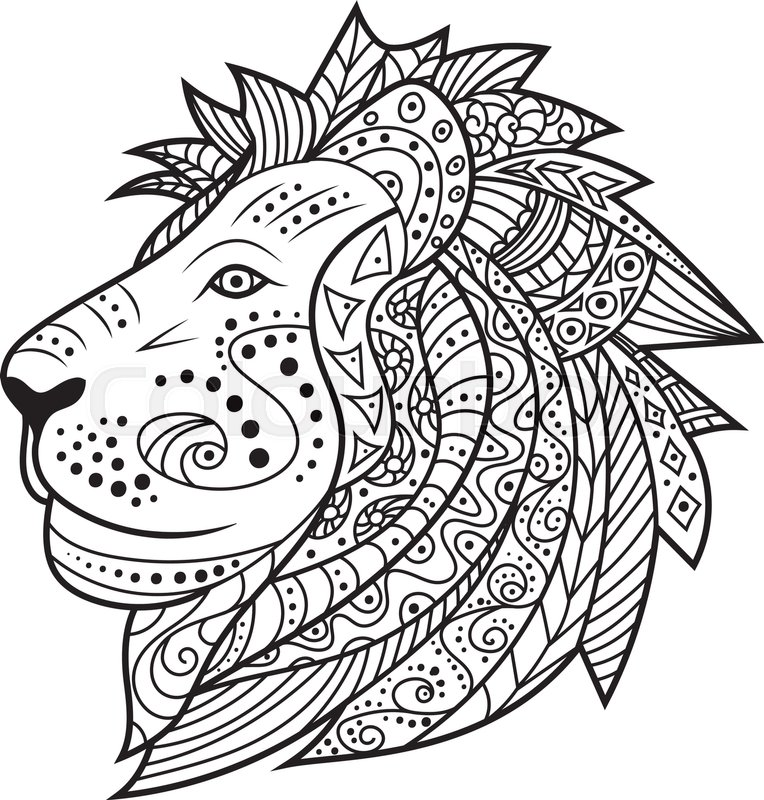 Abstract Hipster Leo Icon Black And White Colors Ethnic Head Of Doodle Lion Coloring Pages Book Vector