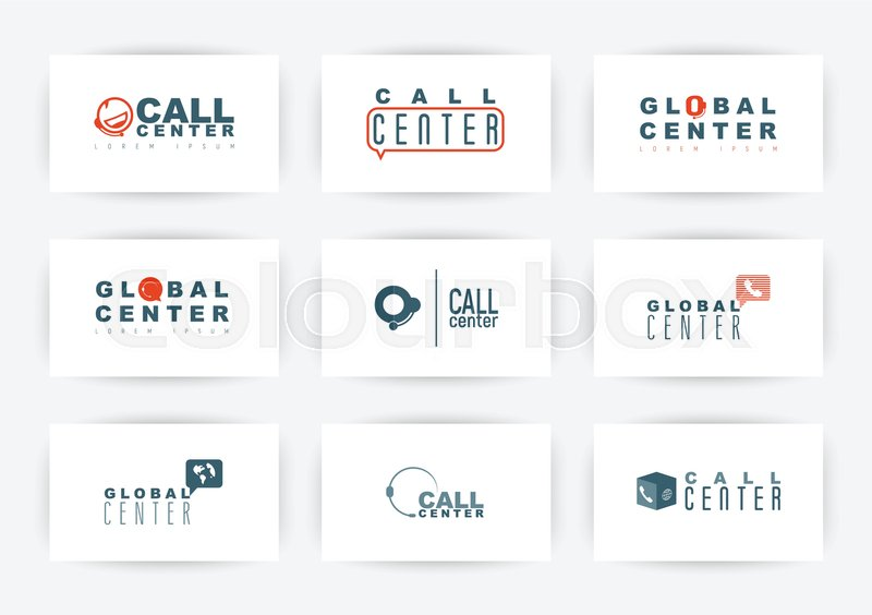 Call Center Hotline Or Support Service Logo Set Vector