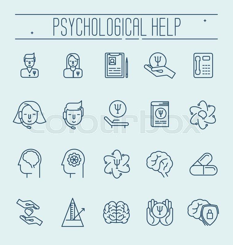 Set Symbols Of Psychological Help Vector Thin Line Illustration