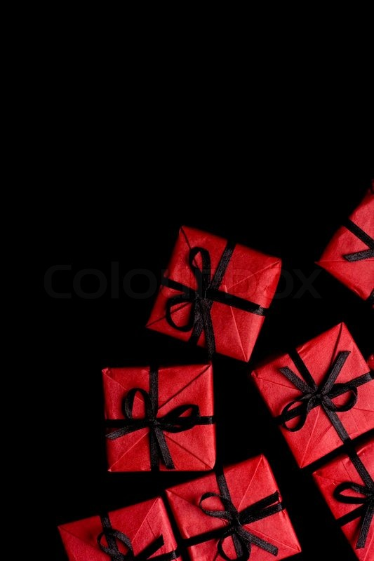 Many red gift boxes on black background stock photo colourbox negle Images