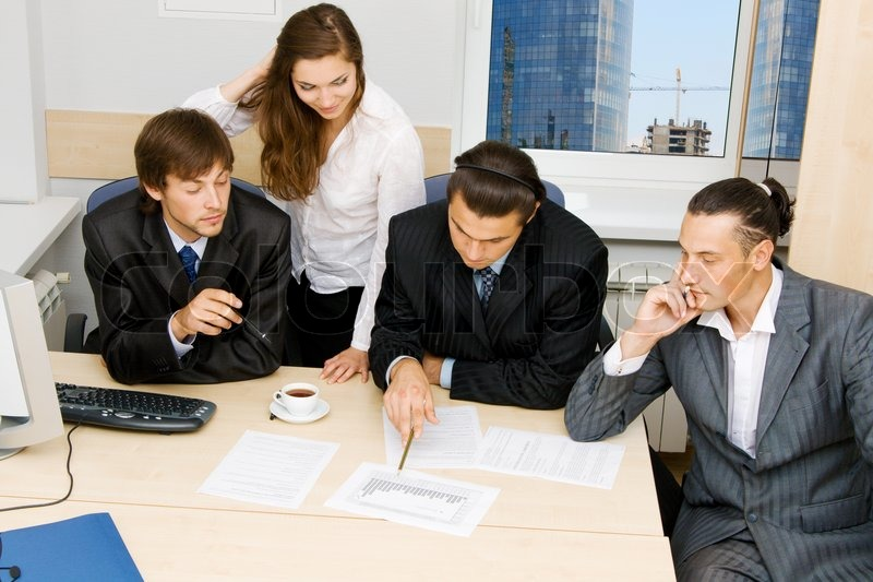 photos of office. Photo Of Office Workers Having A Discussion, Stock Photos E