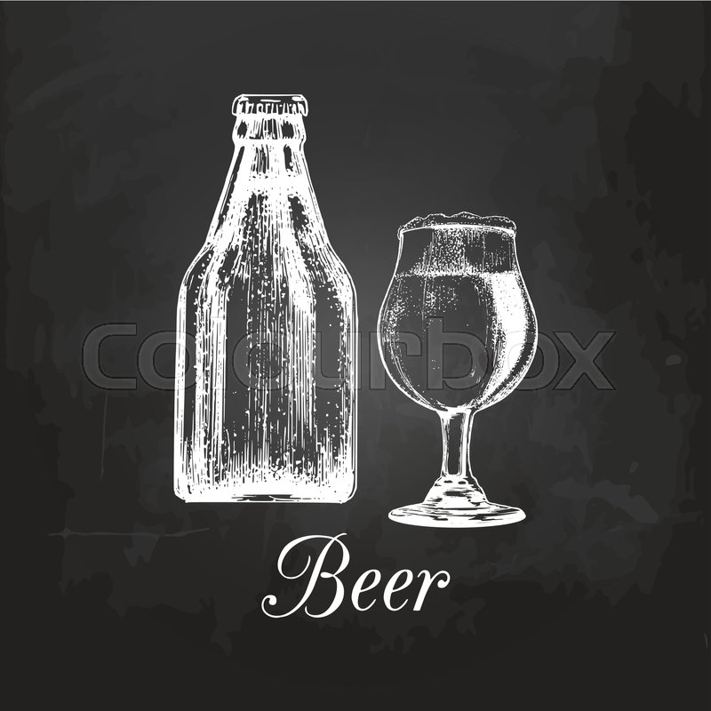 Hand sketched craft beer bottle and glass