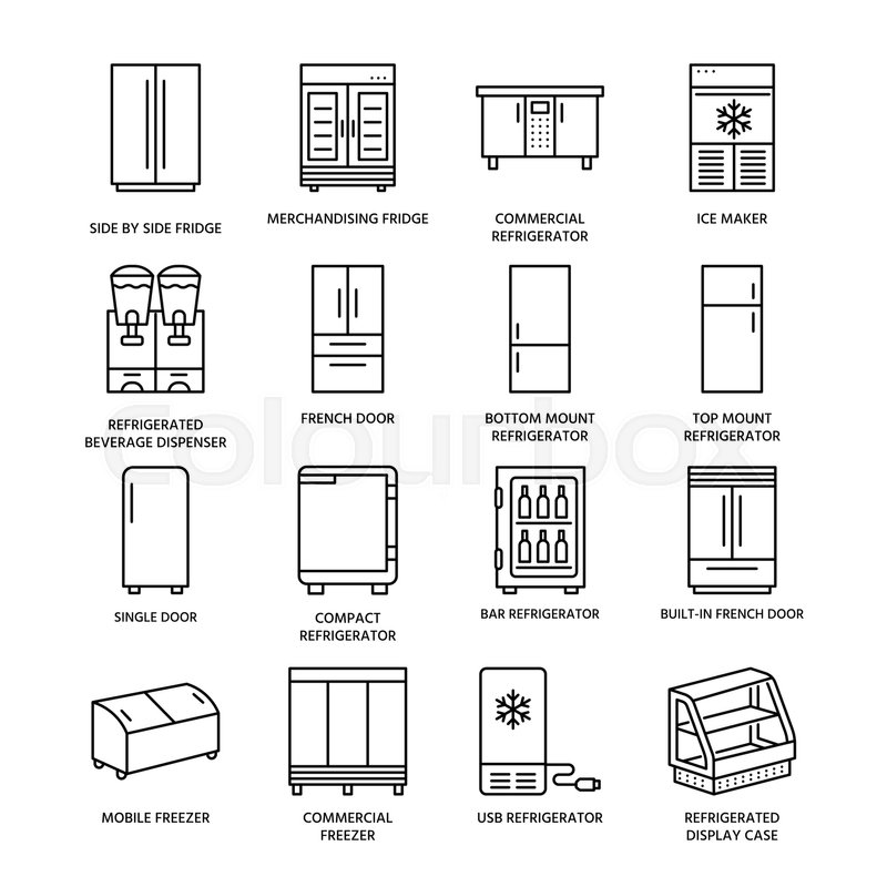 Refrigerators Flat Line Icons Fridge Stock Vector