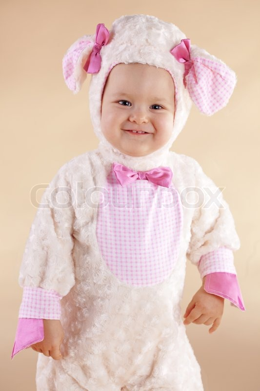 sc 1 st  Colourbox & Very cute baby wearing sheep costume | Stock Photo | Colourbox