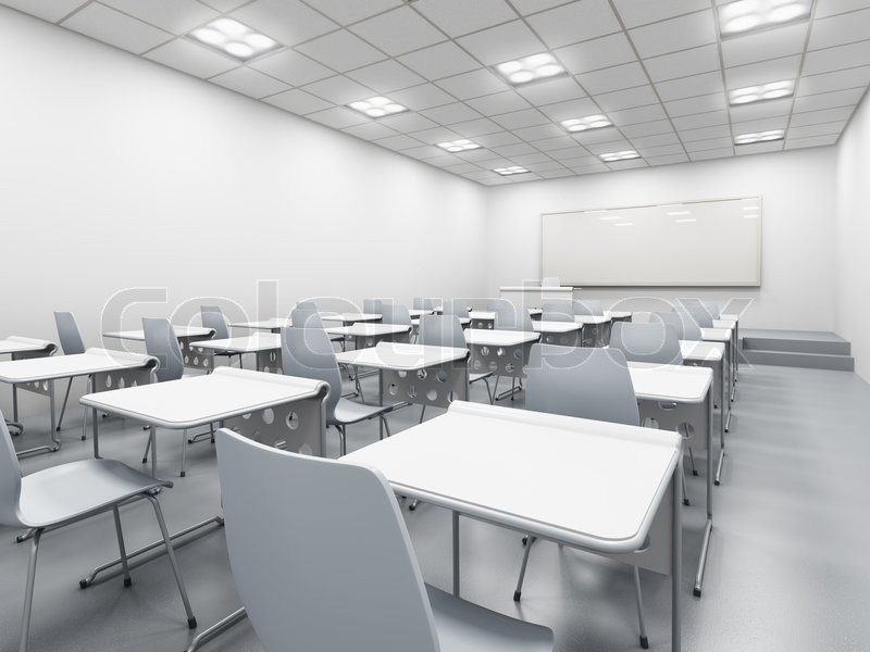 Minimalist Classroom Management ~ Modern white classroom d rendering stock photo colourbox