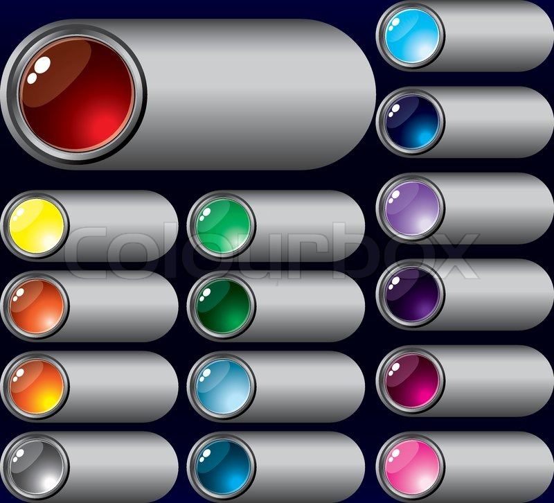 Vector Set Of Buttons Silver For Web Design Stock Vector
