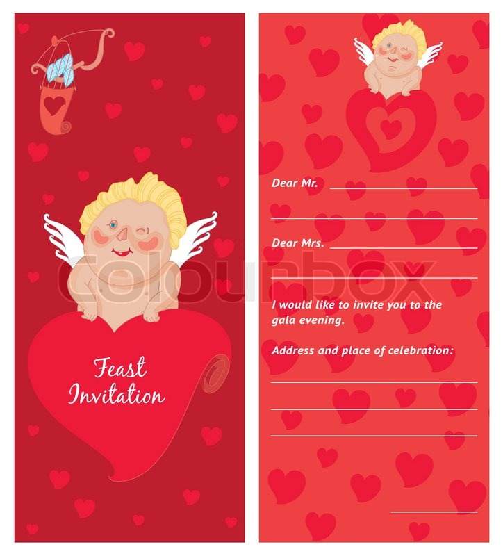 cupid with a letter invitation template valentine s day postcard stock vector colourbox. Black Bedroom Furniture Sets. Home Design Ideas