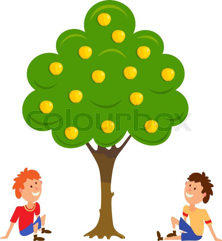 Two Boys Near The Apple Tree Cartoon Stock Vector Colourbox 50,000+ vectors, stock photos & psd files. two boys near the apple tree cartoon
