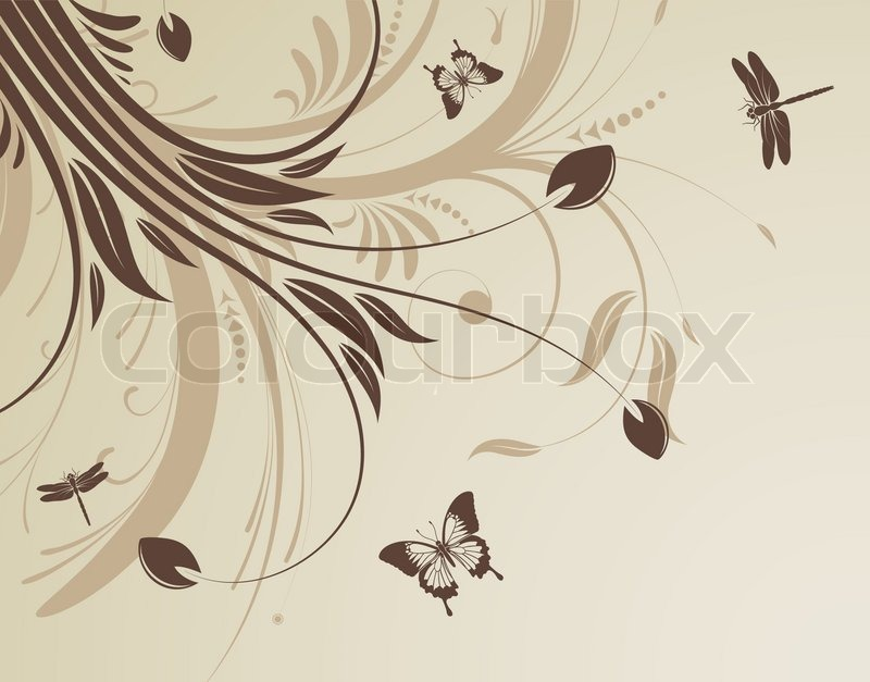 Floral Background With Butterfly And Stock Vector Colourbox
