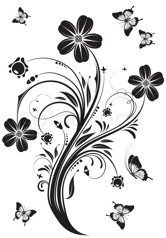 Floral Ornament With Butterfly Stock Vector Colourbox
