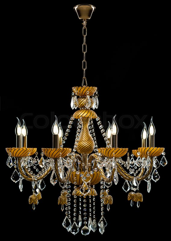 Contemporary Gold Chandelier Isolated On Black Background Crystal