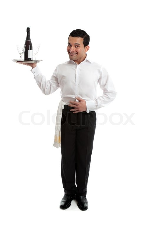 Smiling Kellner , Butler, Barkeeper ot anderen Betreuer, der Inhaber ...