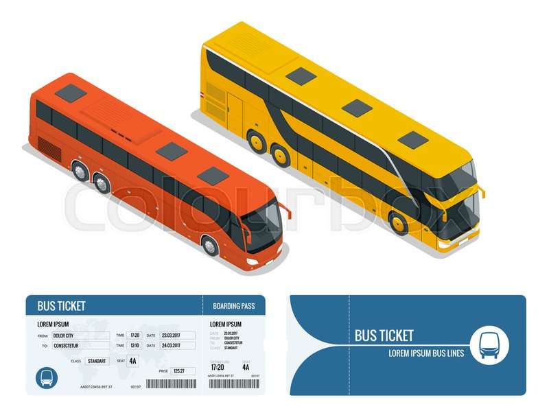 isometric realistic bus and boarding pass ticket template design isolated on white background travel around the world and countries