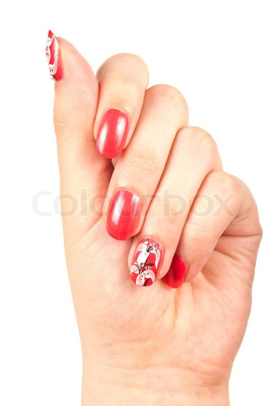 Woman\'s hand with red manicured nails over white | Stock Photo ...