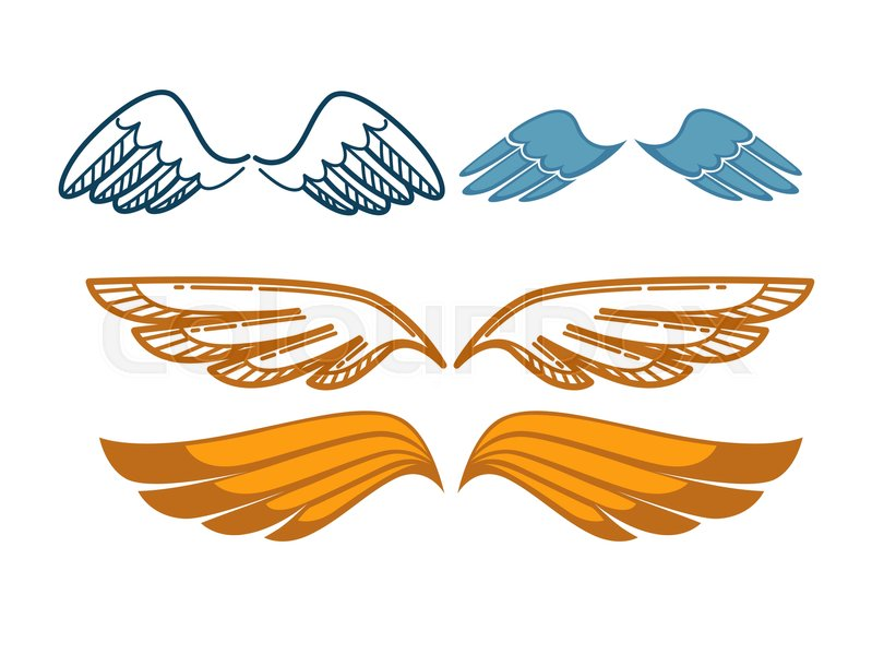 Gorgeous Wings Set Isolated On White Background Angel Gold And Blue