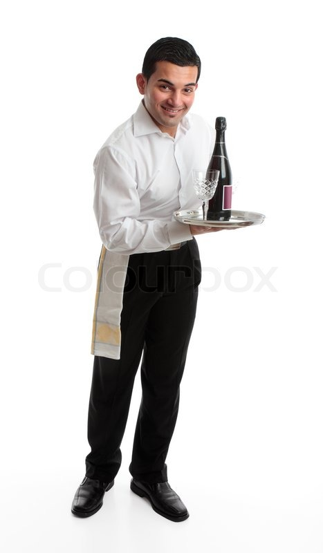 a smiling friendly waiter bartender or domestic staff holding