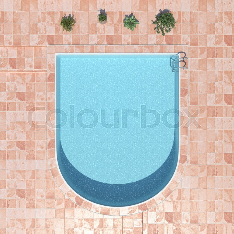 Swimming water pool. top view. 3d rendering, stock photo