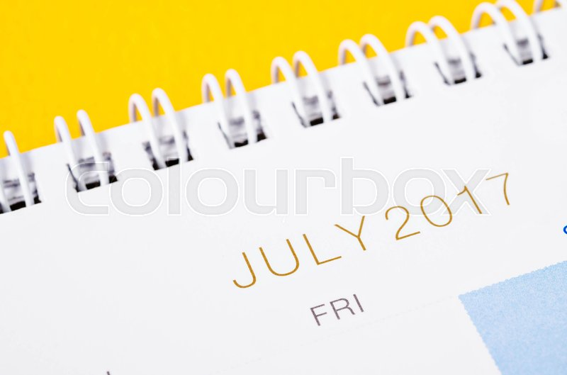 Stock image of 'Close-up July 2017 calendar page.'