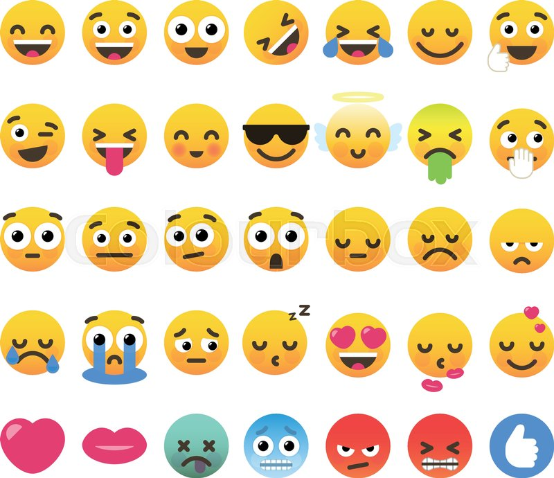 Set of 35 funny emoticons, emoji flat     | Stock vector