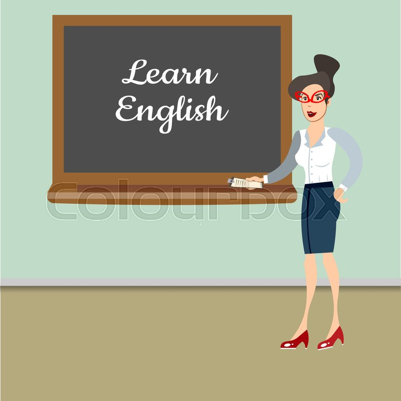 Teacher in front of blackboard teaching student in classroom at school. Vector illustration, vector
