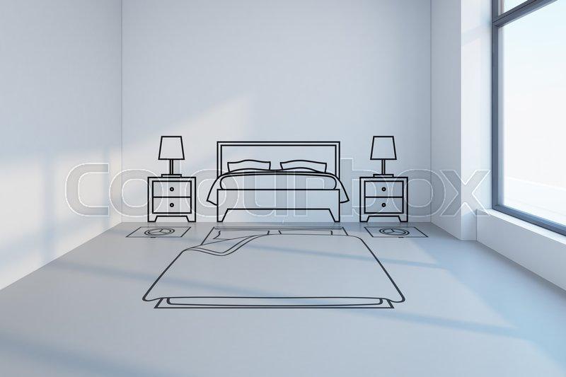 Bedroom planning design Stock Photo Colourbox