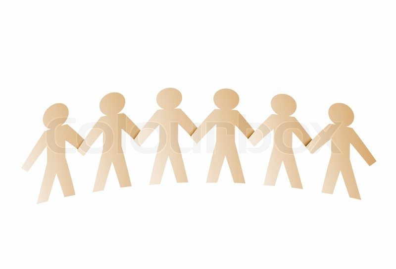 Teamwork, Paper People Isolated On A White Background