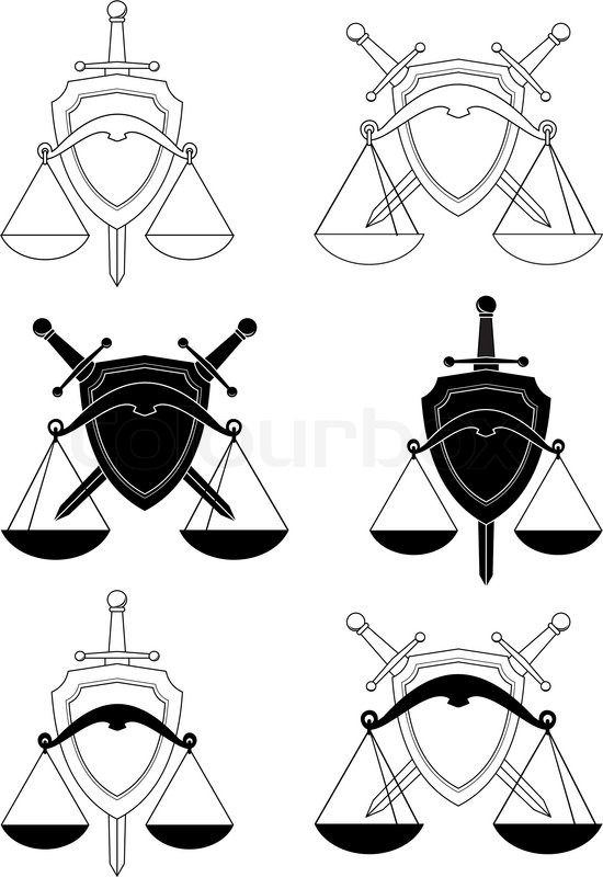Set Of Emblems Shield Sword And Scales Symbols Of Law Order