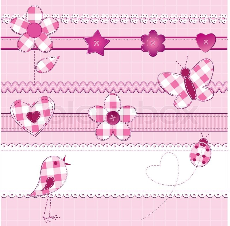 A set of 15 scrapbook elements flowers ribbons buttons ladybug ribbons buttons ladybug and bird on a checkered background pink color perfect for baby girl valentine day or wedding themes vector junglespirit Image collections