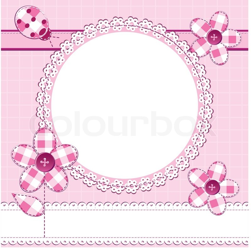 A greeting card in scrapbook style with photo frame perfect for a a greeting card in scrapbook style with photo frame perfect for a baby girl valentine day or wedding themes vector junglespirit Image collections