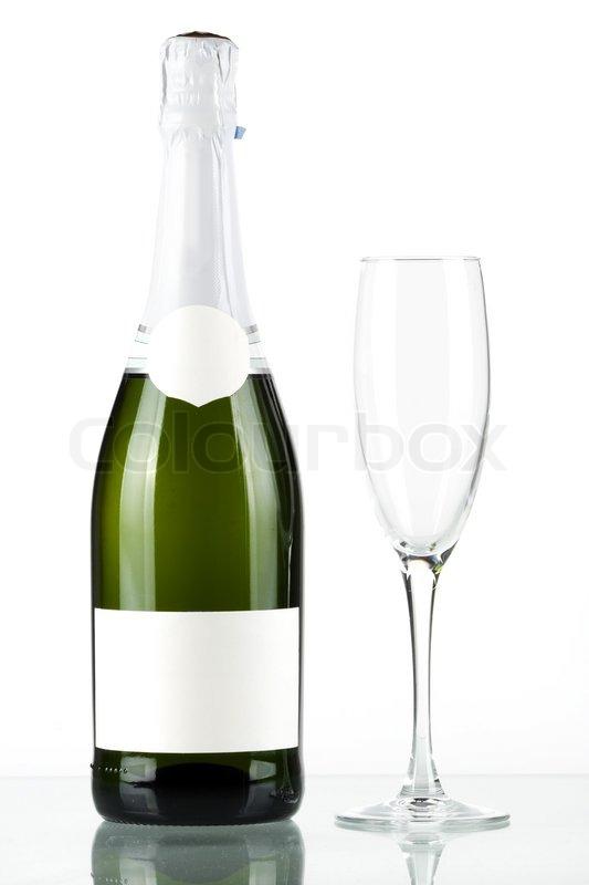 eine flasche champagner mit leeren label und mit leeren. Black Bedroom Furniture Sets. Home Design Ideas