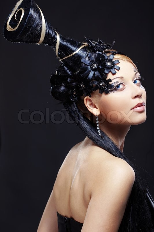 Portrait Of Stylish Woman With Fantasy Hairstyle And Make