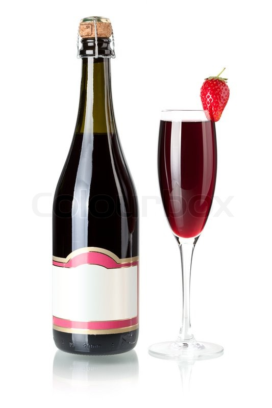 image of 'Wine collection - Strawberry champagne bottle with blank ...