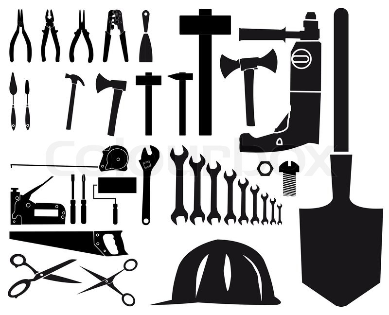 set of vector silhouettes of different tools on white