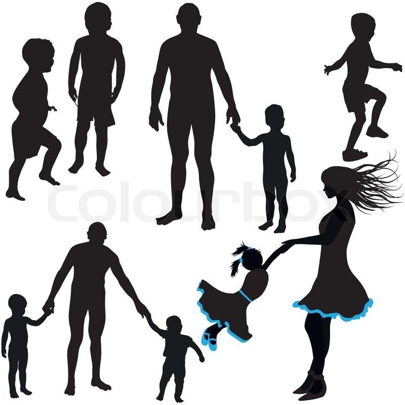 silhouetten von frau mann kinder familie symbol vektor illustration vektorgrafik colourbox. Black Bedroom Furniture Sets. Home Design Ideas
