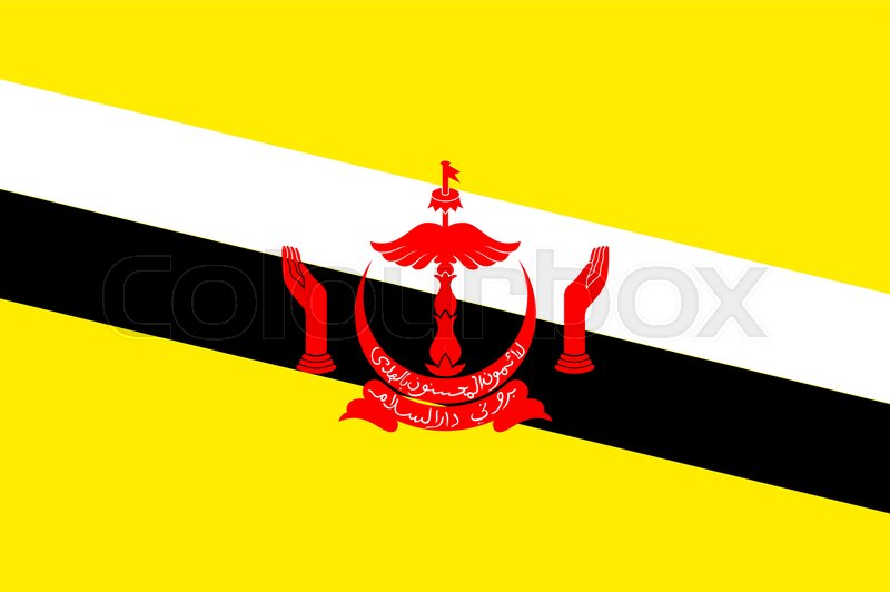 National Flag Of Brunei Patriotic Sign In Official Country Colors