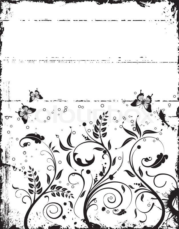 Grunge malen floralen Rahmen mit Schmetterling, Element für Design ...
