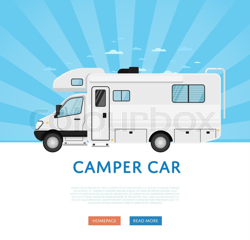 Website Design With Camper Van Stock Vector Colourbox
